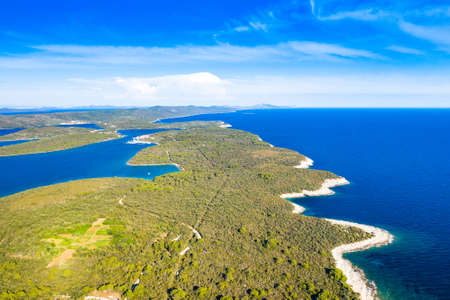 Beautiful blue seascape on the island of Dugi Otok in Croatia, aerial view from drone