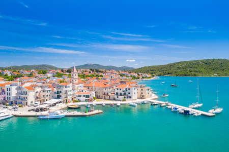 Croatia, Adriatic coastline, coastal town of Pirovac, waterfront view from drone