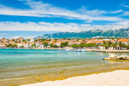 Adriatic sea shore in Croatia on Pag island, beautiful sand beach in town of Novalja Stock fotó