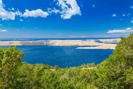 Croatia, Adriatic landscape, panoramic view of the rocky desert of Pag island from mountains