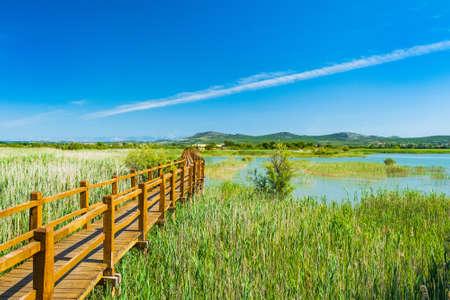 Beautiful nature park Vrana lake (Vransko jezero), Dalmatia, Croatia, wooden path in observation park