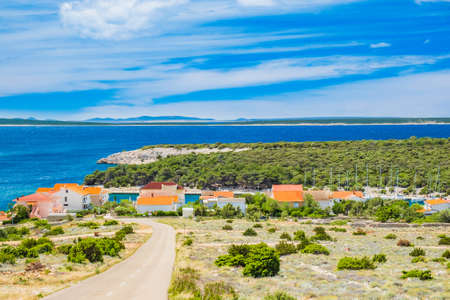 Adriatic coast in Croatia, marina in small village of Simuni on the island of Pag