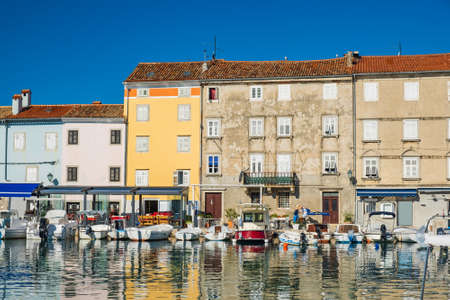 Fishing boats in old town of Cres, waterfront, Island of Cres, Kvarner, Adriatic sea in Croatia
