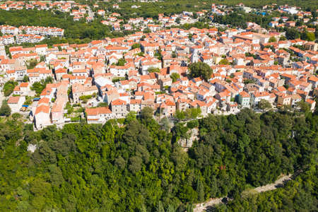 Panoramic view of the old town of Omisalj on high cliff, Krk island, Kvarner, Croatia