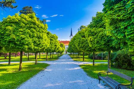 Church and city park in town of Koprivnica in Podravina region in Croatia