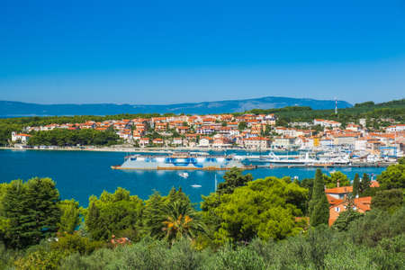 Panoramic view of town of Cres on the island of Cres in Croatia, beautiful blue Adriatic seascape