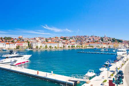 Aerial view of waterfront and marina in town of Mali Losinj on the island of Losinj, Croatia, Adriatic coastline 免版税图像