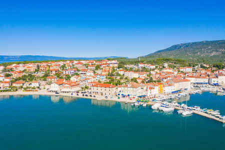 aerial view of beautiful town of Cres on the island of Cres, Adriatic sea in Croatia