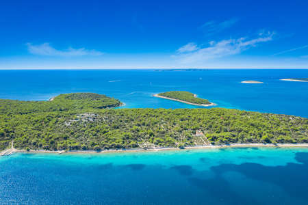 Drone aerial view of the island Koludarc, near Losinj, beautiful Adriatic coastline, Kvarner bay, Croatia, Europe 写真素材