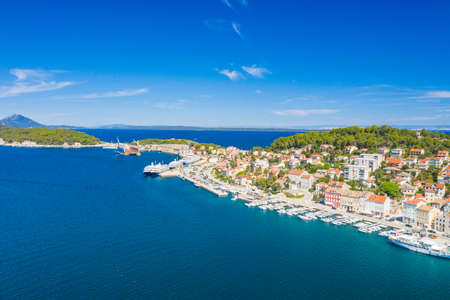 Aerial view of the seafront in town of Mali Losinj on the island of Losinj, Adriatic coast in Croatia