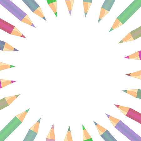 Beautiful pattern frame background color pencils  photo