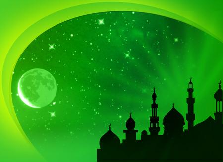 hari raya aidilfitri: Eid Mubarak, Ramadan Illustration Islamic Blank Card
