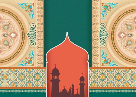 turquoise ornaments islam card