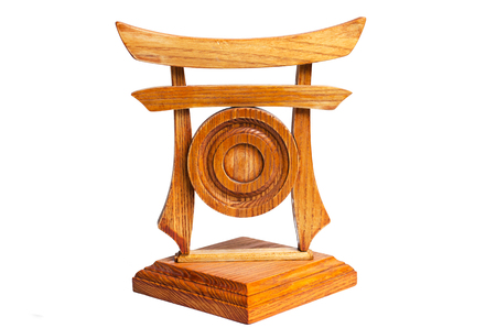 traditional Japanese gate and gong, wooden model, isolated on white background   Stock Photo