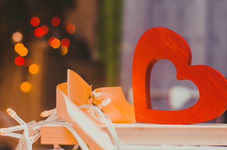 valentine's day, wooden heart and bow