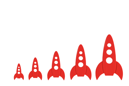 Red rockets are in order of increasing on a white background. The concept of space and technology, travel to the stars and other planets. Space tourism. Launch of spaceships. Isolate Stock Photo