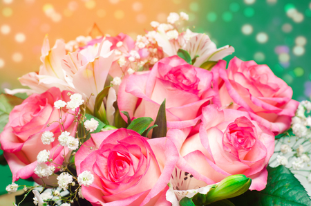 a bouquet of beautiful wedding flowers, pink roses. close up Stock Photo