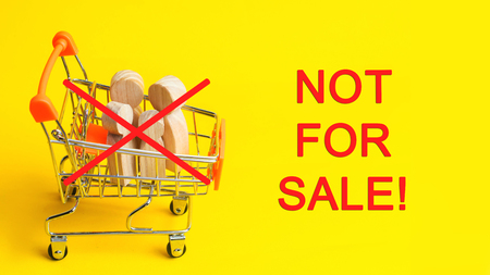 July 30th - World Day Against Trafficking in Human Beings. Human is not a product. Stop child abuse. Concept slavery. hostage, exploitation, cruelty, kidnapping. Not for sale! Stop!