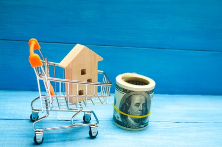 Property investment and house mortgage financial concept. buying, renting and selling apartments. real estate. Wooden house in a Supermarket trolley. credit, affordable housing for young families. Stock Photo