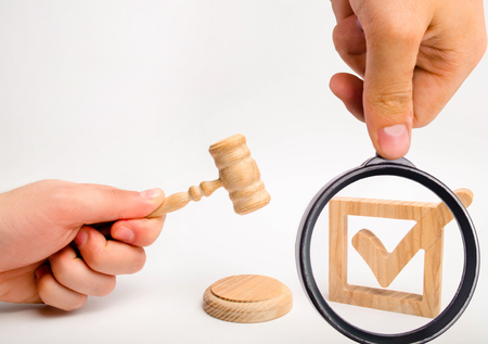 A wooden checkmark and a hammer of the judge on a white background. Appointment of a judge, election to a constitutional court. referendum and elections. Control over the government elections.
