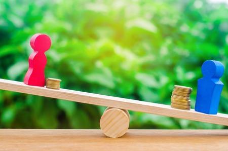 Holzfiguren eines Mannes und einer Frau stehen auf den Waagen und Münzen zwischen ihnen. Konzept des geschlechtsspezifischen Lohngefälles. Einkommensungleichheit. Unterdrückung von Frauen. Geschlechtsdiskriminierung. Balance Standard-Bild