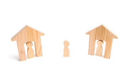 Wooden houses and people and a man between them on a white background. Neighbors. Relations between neighbors in the suburbs. A homeless person, the choice of a parent for housing.