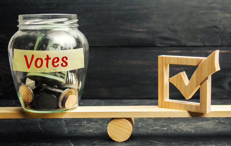 Glass jar with coins and the words