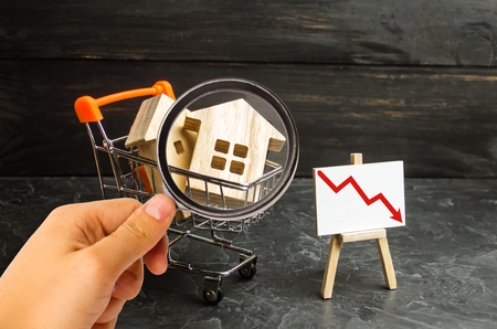 Magnifying glass is looking at the wooden houses in a supermarket cart and up down. Reduction of demand for housing and real estate. falling prices and attractiveness of new real estate market.