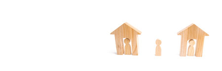 Wooden houses and people and a man between them on a white background. Neighbors. Relations between neighbors in the suburbs. A homeless person, the choice of a parent for housing. banner