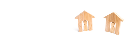 Wooden houses and people on a white background. Neighbors. Relations between neighbors in the suburbs, good-neighborliness and mutual assistance. City suburbs. Real estate, moving. banner