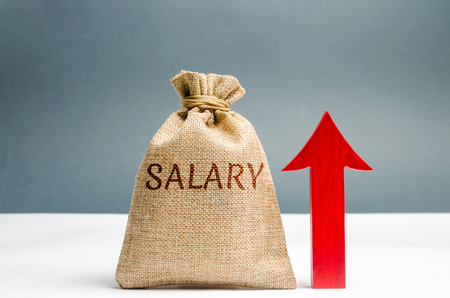 A bag with money and the inscription Salary and up arrow. increase of salary, wage rates. promotion, career growth. raising the standard of living. increase profits and family budget. Zdjęcie Seryjne