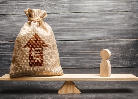 Euro money bag with up arrow and man figurine on scales. The average salary in the labor market, pricing. Criteria and requirements for increasing the work of a specialist. Determination of fair wages