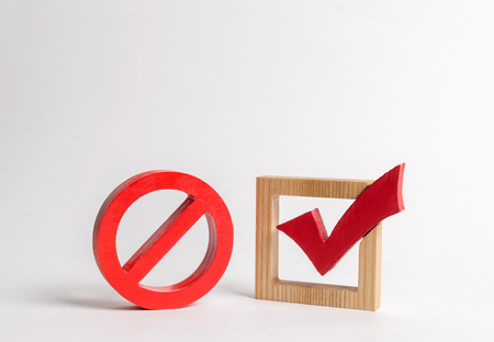 A red check mark and a NO symbol. lack of choice or election of the state. Restriction of rights and freedoms. No option, unavailability. Laws on prohibition and infringement of rights and freedoms.