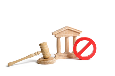 Government or bank building and a red NO symbol with a judge gavel. Cancellation of law or decree. Declaration of default or bankruptcy of the bank. The adoption of restrictions or sanctions.