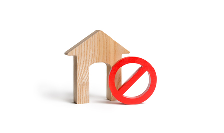 No Sign and the wooden house on an isolated background. Unavailability of housing, busy or low supply. housing prices and the inadmissible to buy real estate. Seizure and freezing of assets by a bank Stock Photo