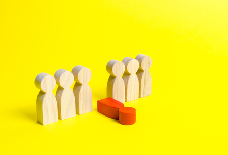 The red figure of a man falls out of the line of people on an yellow background. Moral and physical exhaustion, weak link. dismissal of an employee. Toxic and ineffective. stress and burnout at work