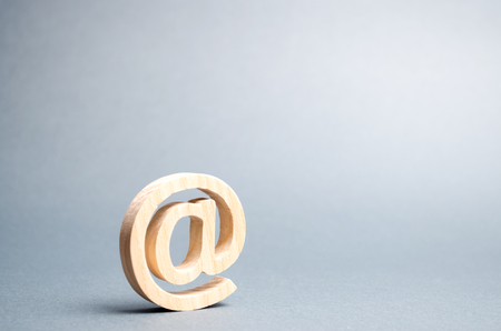 Email icon on gray background. internet correspondence, communication on the Internet. Contacts for business. Establishing contacts with customers. Digital economy, online services. Selective focus