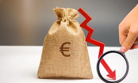 Bolsa de dinero con el símbolo del euro y una flecha hacia abajo. El concepto de reducción de beneficios. Caída de ingresos. Salario bajo. Crisis económica y financiera. Presupuesto familiar de recesión. Negocio fallido.