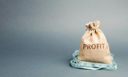 Borsa dei soldi con la parola profitto e metro a nastro. Il concetto di profitto limitato. Mancanza di denaro e povertà. Piccolo reddito. Riduzione stipendio. Affari senza successo. Bilancio familiare. Crisi finanziaria