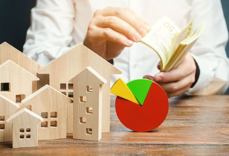 A miniature wooden houses and a pie chart. Businessman counts money. Concept of real estate market analysis and analytics. Segmentation and marketing. Budget and maintenance costs of the buildings.