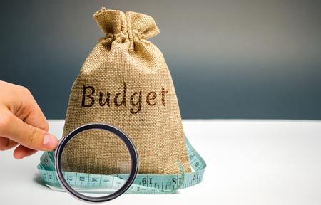 Borsa dei soldi con la parola Budget e metro a nastro. Il concetto di profitto limitato. Mancanza di denaro e povertà. Piccolo reddito. Riduzione stipendio. Affari senza successo. Bilancio familiare. Crisi finanziaria Archivio Fotografico