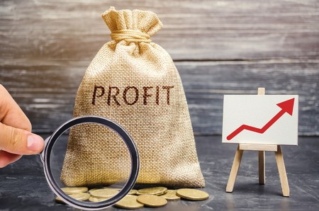 Money bag with the word Profit and an up arrow. Concept of business success, financial growth and wealth. Increase profits and investment fund. Saving money and accumulation.