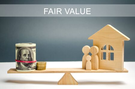 Money and family with a house on the scales with the inscription Fair value. Property valuation. Home appraisal. Housing evaluator. Fair trade. Legal transparent deal. Apartment purchase / sale.
