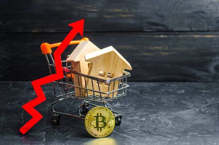 A supermarket cart with houses and bitcoin and a red arrow up. growth value Bitcoin and the reliability of long-term investments. Unstable currency, high volatility. Buying of goods bitcoins.