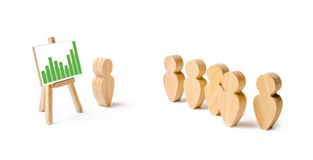Wooden figures of people stand in the formation and listen to their leader. Business training, briefing and inspirational speech. Employee reports to management. Summing up, successes. Selective focus