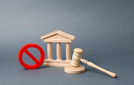 Government or bank building and a red NO symbol with a judge gavel. Declaration of default or bankruptcy of the bank. The adoption of restrictions or sanctions. Cancellation of law or decree.
