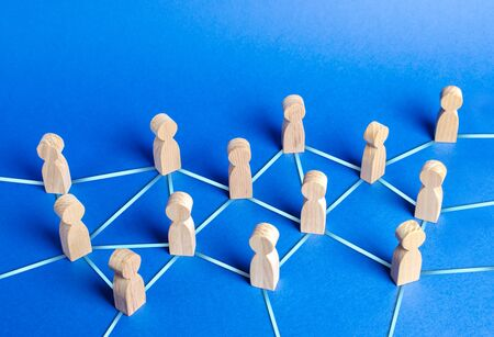 people figurines connected by blue lines. Cooperation and interaction between people and employees. Dissemination of information in society, rumors. Communication. social contacts. Chain reaction