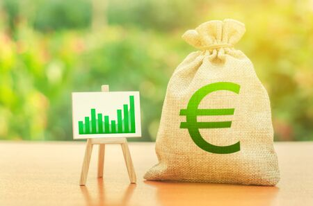 Money bag with Euro symbol and a stand with a green growth trend chart. Increase profits and wealth. growth of wages. Investment attraction. loans and subsidies. Favorable conditions for business.