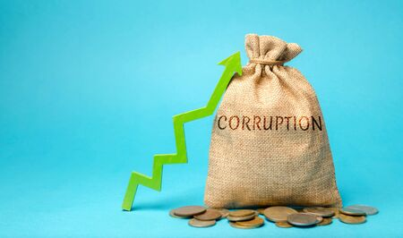 A money bag with the word Corruption and up arrow. Usurpation of power. Corrupt vertical. Damage to the economy. Poverty. Economic crime. Corrupt practices. Bribery. The unstable political situation