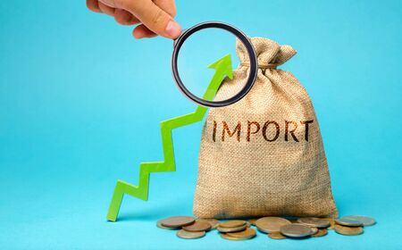 Money bag with the word Import and up arrow. Increased trade between countries. Economic prosperity. New companies entering the national market. Goods and services. Importer. Importation